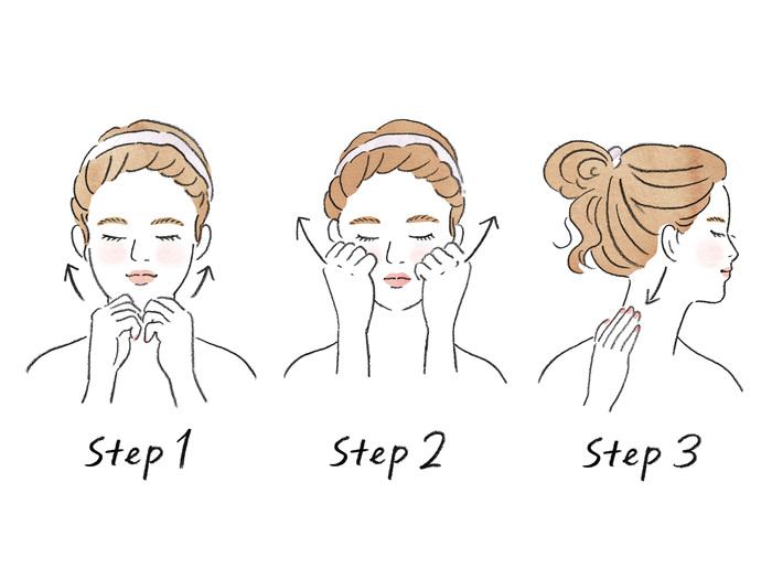 Step1 親指と人差し指であごをはさむ。 親指で圧をかけながら、フェイスラインに沿って耳の下まで手を滑らせる。(3回)  Step2 手を「ぐう」の形にして、小鼻のすぐ横の頬骨の下に置き、頬骨に向かって押し上げるように圧迫しながら耳の前まで手を移動させる。(3回)  Step3 耳の前のリンパ節を中指で押し、耳の後ろも押す。 首のほぼ真横を通過して鎖骨リンパ節へむかって手を滑らせる。(1回)