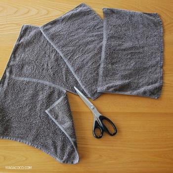 こんな風に、使い古したタオルはラインに沿ってカットすれば雑巾などに再利用することが出来ます。カットしても繊維がボロボロほつれてこない工夫が嬉しいですね!