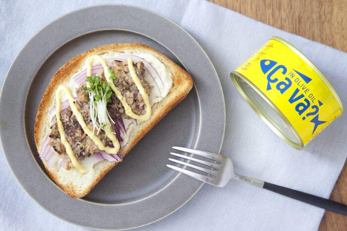 見た目もオシャレで話題になったオリーブオイル漬けのサバ缶を使ったおしゃれなオープンサンド!シャキシャキの紫玉ねぎがいいアクセントに。トースターで焼くだけで完成するお手軽さもいいですね。