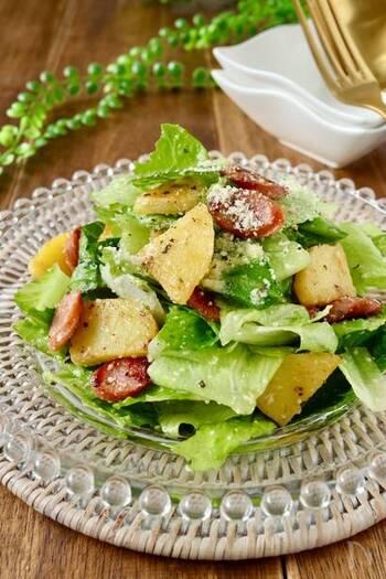 ほのかな苦みが特徴のロメインレタス。こちらのレシピでは1株丸ごと使い、葉の柔らかさと茎のシャキッとした食感を両方楽しめます。オシャレなデリ風の味つけで、お酒とも相性バッチリです!