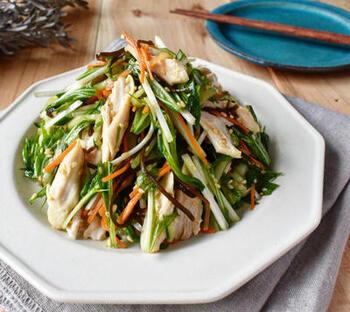 鶏のささみが入ってボリューミーなサラダのレシピ♪電子レンジでできるのも魅力です!水菜などの野菜はフレッシュなまま利用できますよ。  冷蔵庫で2日~3日ほど日持ちするので、前日に作っておくと良いでしょう。野菜は生のまま使うので、日持ちの目安に関わらず保存状態はよく確認するようにしてくださいね。