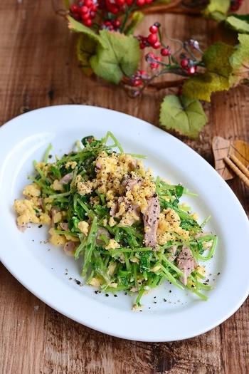 <豆苗とたまごのツナサラダ>は、メインのおかずにもなるような食べ応えのある副菜。シャキシャキの豆苗とふわふわの炒り卵の食感が楽しいメニューです。味付けのポイントは粒マスタード。ツナのコクによく合います。彩りも豊かなので、ぜひレシピを覚えておきましょう。