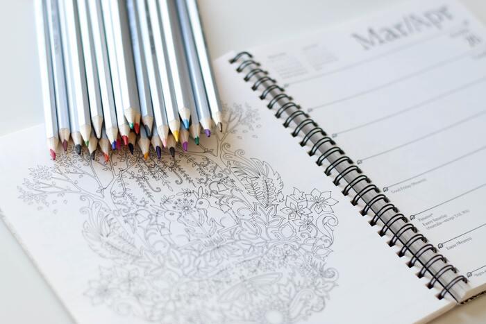 下絵と色鉛筆。ぬり絵をするとき、最低限揃えたいのはこの2つだけ。他には、裏移りしないための下敷きや色を薄くするための消しゴムがあると良いでしょう。  下絵は、本屋さんなどに並んでいる作家さんのぬり絵ブックの他、インターネットからも気軽にダウンロードすることもできます。自分好みの絵柄を選んでみてくださいね。
