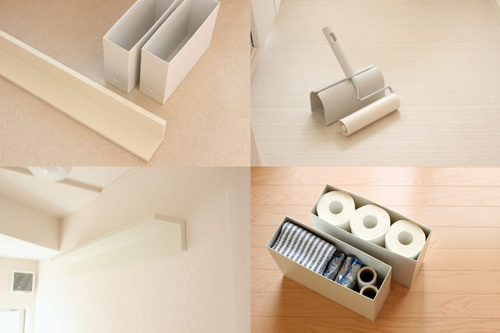 トイレ用品の収納は、床に置いてしまうと掃除がしにくいですよね。そこで、壁面に無印の棚とファイルボックスを設置。お掃除グッズやトイレットペーパーをすっきりと収納できます。