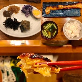 メニューはお魚定食がメイン。味はもちろん、サービス精神旺盛で優しい店主も魅力的です。画像左上のお惣菜盛り合わせは、魚定食に付いてきます。これがまたおいしい!