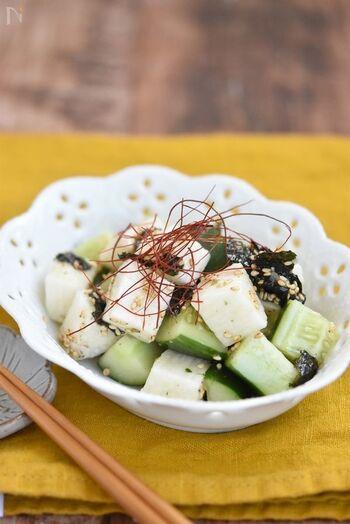 長芋ときゅうりを使った韓国風サラダも、火を使わずにつくれるので、暑い季節にも嬉しいレシピです。ごま油の風味が食欲をそそります。