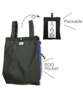 ポリエステル製の撥水生地を使用した「ROOTOTE」のエコバッグは、軽量で使いやすく、水や汚れに強いのが特徴です。内ポケットに折りたたんでコンパクトに携帯できるので、旅行やアウトドアシーンにも活躍してくれます。