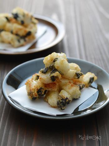 見た目が少し変わっている長芋の磯辺揚げ。長芋に柚子こしょうと海苔の風味がまんべんなくついて、違った味わいと食感が楽しめます。