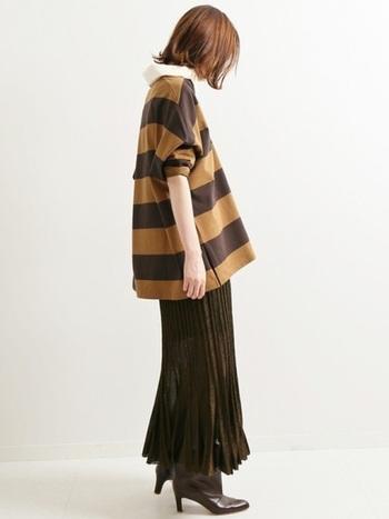 カジュアルなラガーシャツもショートブーツならレディな装いに。季節感も取り入れつつワンランク上のコーデになりますね♪