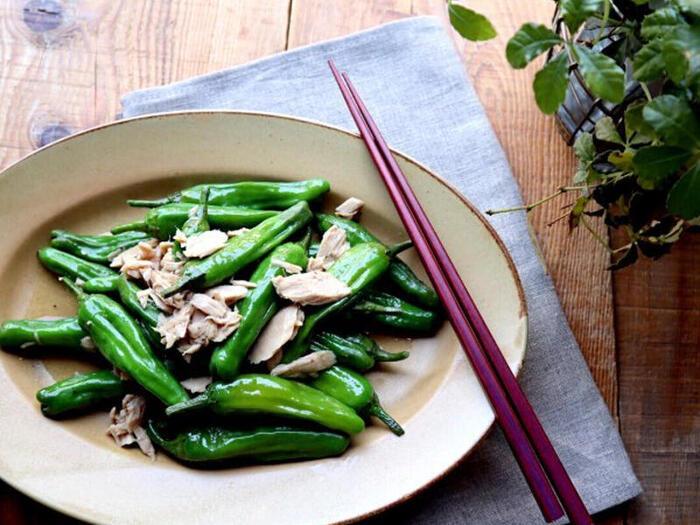ストック食材の定番、ツナ缶とししとうだけで作った簡単レシピ。ツナのオイルの旨味がししとうに移り、あっという間に美味しい副菜の出来上がりです。