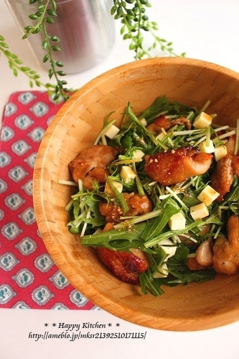 甘辛味の鶏もも肉がごろっと入ったボリューム満点のサラダ。胡麻だれとチーズのコクがプラスされた、おしゃれなデリ風の一品です。