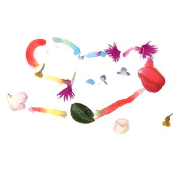 そして、花から花への色のバトンタッチを水彩絵の具で表現。無限かと思える色の連なり。一期一会の、まさにこの時にしか出会えない作品が出来上がります。