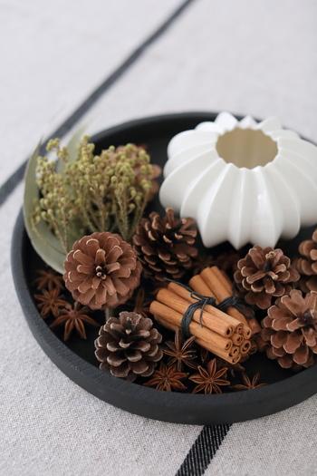 松ぼっくりや八角、束ねたシナモンなどブラウン系のドライ植物をトレイにディスプレイ。これだけで一気に秋っぽくなるから不思議ですね。