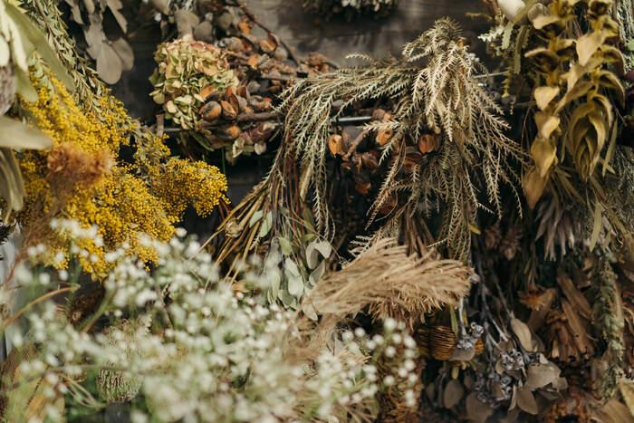 秋色が溢れる美しいドライフラワーたち。ドライフラワーには、生き生きとしたフレッシュフラワーとはまた違った味わいがありますよね。