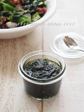 磯の香りを楽しめるあおさのドレッシング。ポン酢ベースなので作り方は簡単。お肉、お魚、野菜、何にでも合います。
