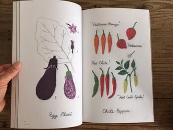人参、なす、エディブルフラワーまで、キッチンガーデンを彩る様々なモチーフが登場します。自分でも刺繍してみたくなりますね。食べるだけではない野菜の楽しみ方を教えてくれる本です。