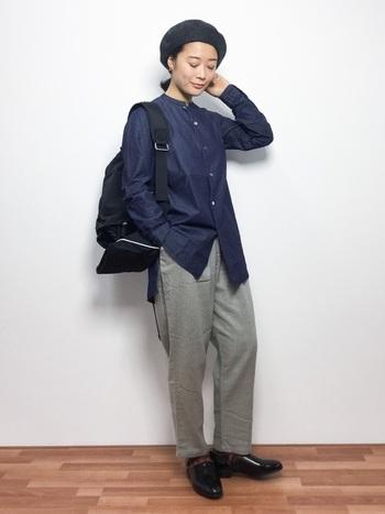 メンズライクな着こなしはセンス良く決まるので、シンプルな組み合わせでもカッコイイですよ。