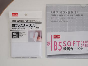 ダイソーのテープ付き面ファスナーを貼ったソフトカードケースをキッチンのシンク上の扉裏に貼ります。