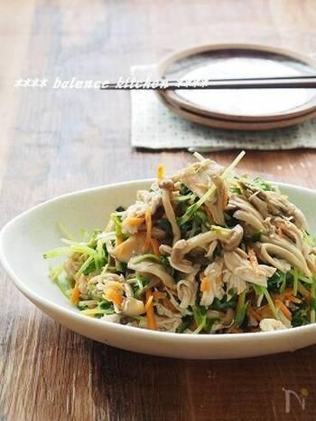 余熱調理でしっとり仕上げたささみと、シャキシャキ食感の豆苗を、きのこの旨味たっぷりのドレッシングで和えた、箸休めにぴったりなサラダです。