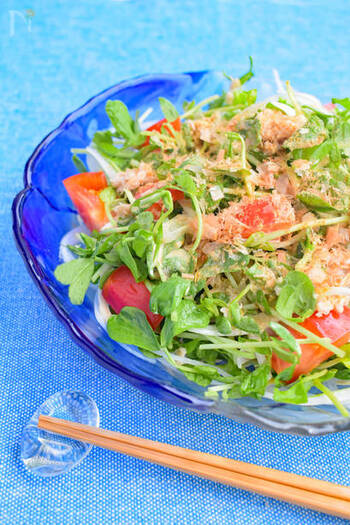 ポン酢×マヨネーズ×カレー粉の簡単和風ドレッシングと、豆苗の食感がたまりません!箸が止まらない、栄養満点ボリュームサラダです。