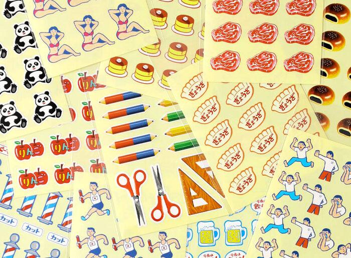 手帳やノートを彩るシール。おしゃれなものもいいですが、レトロかわいいシールもぜひ試してみませんか?食品や動物、人間、お店、文房具などなど、全部で12種類。手帳やノートが楽しくなるようなデザインです。手紙やラッピングにもおすすめですよ。