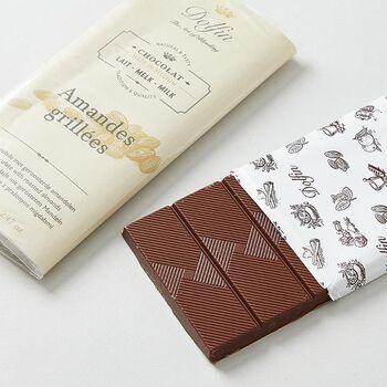 ベルギーのショコラティエ ドルファン社による板チョコ。人工的な材料は一切使用せず、厳選された原材料と最高級のチョコレートをミックスするという高度な技術によってつくられています。
