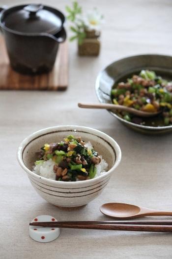 野沢菜漬けや柴漬け、沢庵などのお漬け物を細かく刻み、納豆と混ぜ合わせる簡単レシピ。仕上げの胡麻がアクセントになります。大葉や生姜などの薬味を加えても美味しく、海苔で包むとお酒のおつまみにもおすすめです。