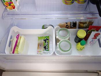 ついぐちゃぐちゃになってしまう、冷蔵庫の中に使用してもGOOD。粉ものや汁もの、チューブなどを収納しても、掃除が楽でいいですよ♪