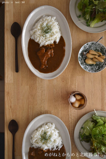 みんなが大好きなカレーだから、食べる時はお皿もこだわってみるのも素敵。手抜きでも、こだわりでも、お気に入りのカレー皿でカレーの食卓を楽しもう。