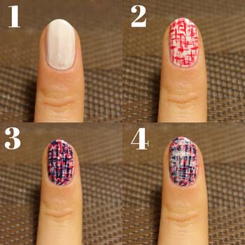 最初にホワイトを1度塗りしてベースをつくったら、細筆でピンクの「+」をランダムにたくさん描きます。隙間を埋めるようにネイビー、ホワイトの順で同じく「+」を描いて、トップコートを塗って完成です。