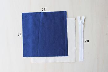 材料は表の生地と内側の生地、ファスナーの3つだけ。とてもシンプルです。