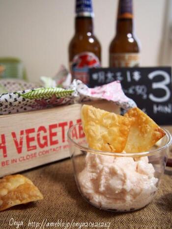 こちらは、明太子とクリームチーズを使ったディップソース。いくつかソースを用意して、味のバリエーションを楽しむのもおすすめです。