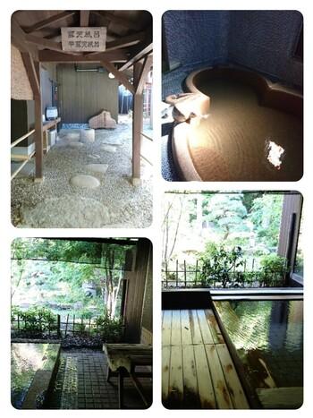 温泉は、湯の川温泉の源泉100%かけ流し。このように豊かな緑を楽しみながら、極上のひと時を過ごせます。秋には、緑ではなく、真っ赤に染まる紅葉の景色も*  お食事の、和の会席料理も評判。ご夫婦、恋人の方の記念日旅行としてもおすすめしたい大人の隠れ家的な旅館です。