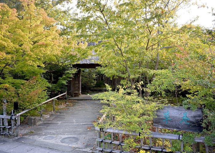 島根県雲南市にあった天保時代の古民家を移築してつくられた「湯宿・草菴(ゆやど そうあん)」。このように入り口は自然でいっぱいで、穴場感がありますね。