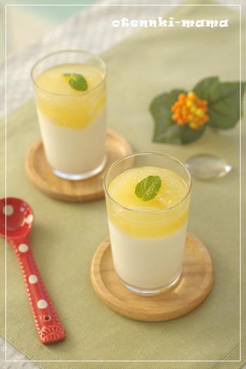 グレープフルーツのヨーグルトゼリー。グレープフルーツの香りは気持ちを穏やかにする効果があります。固まるのに時間がかかるので、前の日の夜に作っておくと楽チンです。