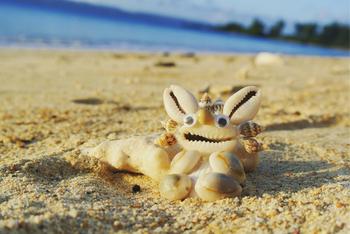 貝殻を使って作るのは、沖縄の守り神シーサーです。自然の貝殻を使っているので、表情豊かなオリジナルのシーサーができあがります。