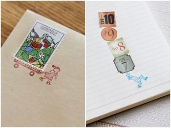 荷台に乗せたり、切手を重ねて荷物に見立てたり・・・。スタンプを添えることで、こびとさんが一生懸命、切手を運んでくれているように見えますよね。  他にも、イーゼルデザインのスタンプなどが有名です。  特殊な記念切手に限らず、通常販売されているごく普通の切手でも目を引く存在にしてくれるのが嬉しいですね。