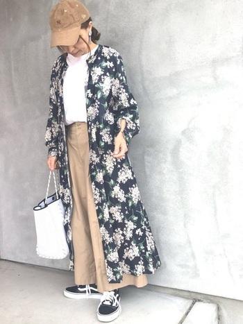 冬~春の季節の変わり目には、こちらのような花柄ワンピースのレイヤードスタイルもおすすめです。裾に向かってふんわりと広がる、上品なシルエットのユニクロのワイドパンツも素敵ですね。コーデュロイ素材のキャップや爽やかな白のトートバッグなど、おしゃれな小物使いもポイント。