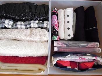 こちらのブロガーさんは、ボックスの中に袋に入れて浴衣を仕分け。空いたスペースに上手にまとめてみてください♪