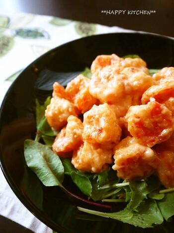 大人も子供も大好きな海老マヨは、自家製マヨネーズで優しい旨味に。食欲がない日もご飯が進みます。