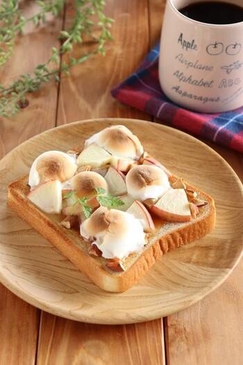 チョコレートはピーナツバターに変えてもOK!りんごとナッツを散らせば秋の味のマシュマロトーストの完成。 りんごはシナモンとの相性もいいので、シナモンシュガーをかけても美味しそうですね。