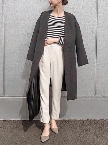 今や定番ブランドのユニクロ。ノーカラーコートは、シンプルで仕事着としても着られます。ノーカラーコートは2018年に引き続き2019年も流行りなので、一着持っておくと便利です。