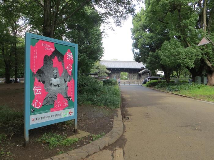 """先に述べたように、ウエストサイドエリア(上野公園北西~西~南部)は、美術館や科学館等の人気施設、またJR上野駅からやや離れているため、中央部や東側と比較して、一年を通じて人通りが少ない傾向にあります。  【2017年10月初旬頃の公園ウエストサイドエリア""""芸術の散歩道""""付近。正面の門扉は、土日祝のみ開門する「東博」の『旧因州池田屋敷表門(黒門)』。当門は、江戸期に権勢を奮っていた鳥取藩池田家の江戸上屋敷表門だったもの。東京大学の""""赤門(加賀藩・前田家屋敷門)""""に対して""""黒門""""と並び称される。明治期に、東宮御所正門として、その後高松宮邸に引き継がれ、昭和29年に現在地の東博へ移築されている。堂々たる姿は一度は見る価値あり。】"""