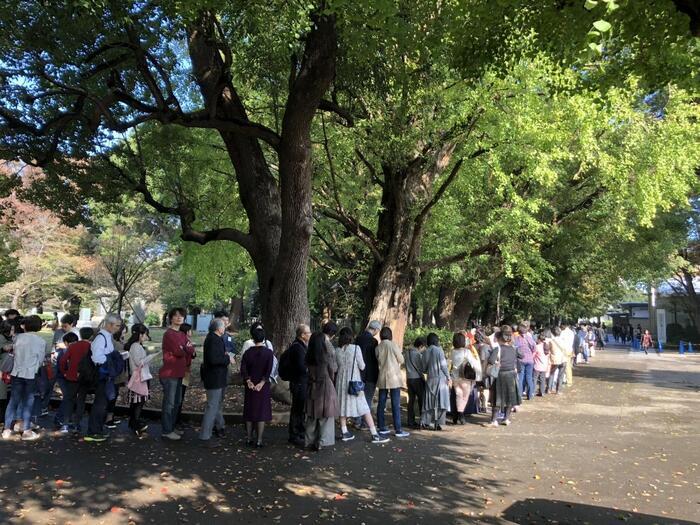 """上野で活気があり、人で賑わうのは、上野公園の東側から駅周辺です。 地図を広げれば一目瞭然ですが、上野公園(正式名称:上野恩賜公園)は、京成上野駅から噴水広場へと通じる中央部の東側(上野駅側)に、人気の文化施設が集中しています。  【2018年秋に「上野の森美術館」で開催された『フェルメール展』に並ぶ人々。""""日時指定入場制""""でも大行列。】"""