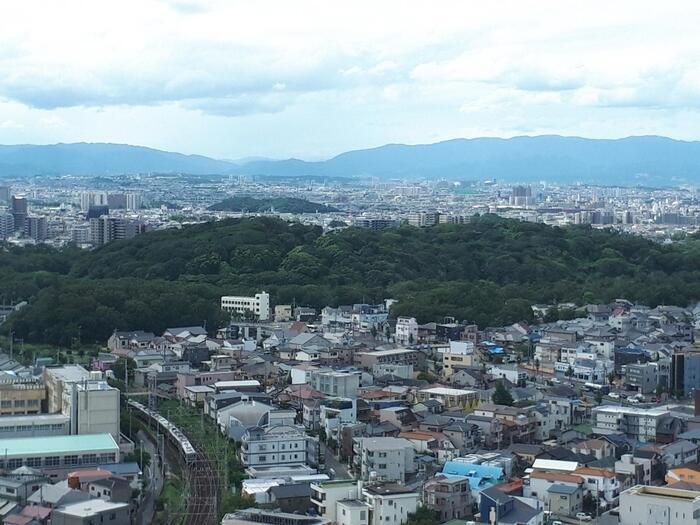 堺市役所の展望ロビーからの眺めはこちら。  「仁徳天皇陵」の広大さもあって、見えるのは全景ではなく、一部です。