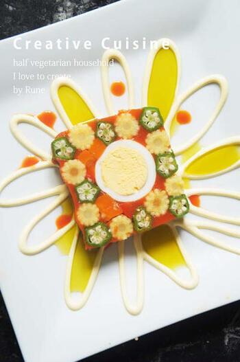 食卓にぱっと花が咲いたような美しいテリーヌ♪一見難しそうですが、野菜ジュースを使って意外と簡単に作れちゃいます。ジュースの旨味が主役のレシピです。