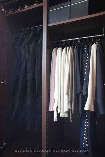 スーツやお出かけ用のよそゆきワンピースなどきちんと保管したいものには、衣装カバーをかけてあげると完璧。埃よけにもなりますし、擦れたり、日焼けしたりするのを避けられます。