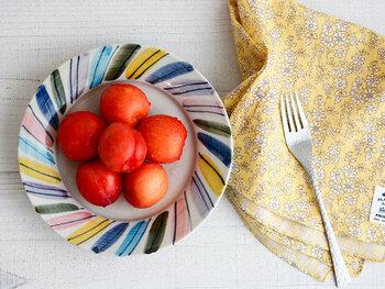 青・ピンク・黄・紫など、さまざまなカラーで、プレートの周りを彩った一枚。中央に色鮮やかなフルーツなどを乗せるだけでも、素敵な盛り付けが完成♪マルチカラーのプレートは、一枚あるだけでテーブルがグッと華やかな印象になりますね。