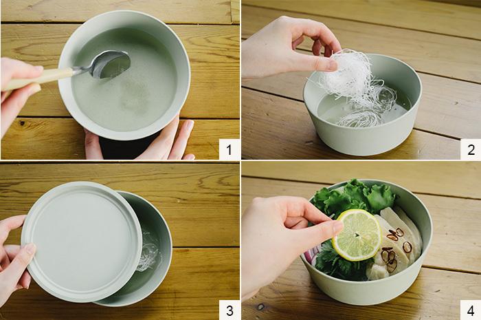 (1)器に合わせ調味料を入れ、フタをして[600Wで3分]加熱します。 (2)レンジから取り出して、春雨を入れます。 (3)フタをしてやわらかくなるまで待ちます。 (4)春雨がやわらかくなったら、玉ねぎとレタス菜、蒸し鶏を盛って出来上がり。