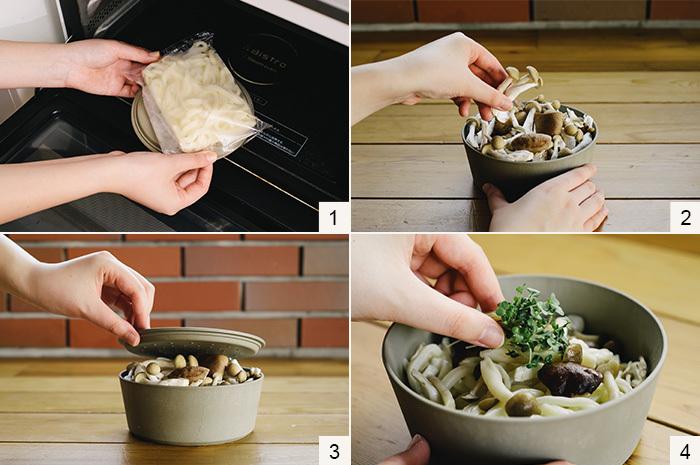 (1)器のフタを裏返し、その上にうどんをのせて[600Wで1分]加熱して半解凍状態にします。 (2)器にうどんを入れ、その上にきのこをたっぷりのせます。 (3)水とオリーブオイル、塩を回しかけフタをして[600Wで5分]加熱します。 (4)加熱が完了したら、しっかり混ぜてスプラウトを添え、レモンを搾り、お好みで七味唐辛子をかけて出来上がり。